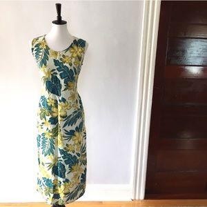 Tropical linen floral palm leaves midi dress